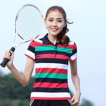Newest Polo Golf Apparel Women Shirt Spring Summer Lady Short Sleeve Cotton T-shirt Turn-down Collar Striped Slim Polo Shirt