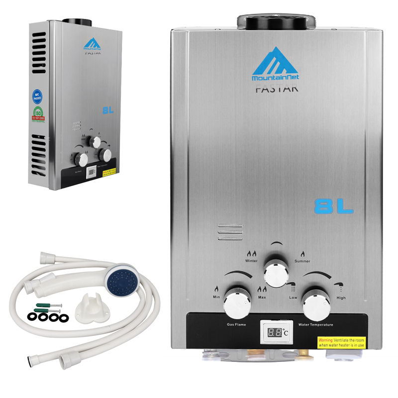 (Ship From USA) 8L 2GPM Natural Gas Tankless Boiler Stainless Instant Endless Energy-Saving Water Heater With Shower Head