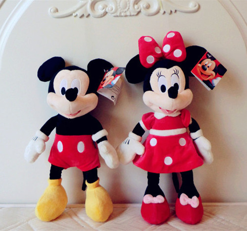 Retail Kawaii Good quality Mickey Mouse Minnie plush toys children 2pcs/set 30cm Pink/Red dolls - Green Dor Toys store