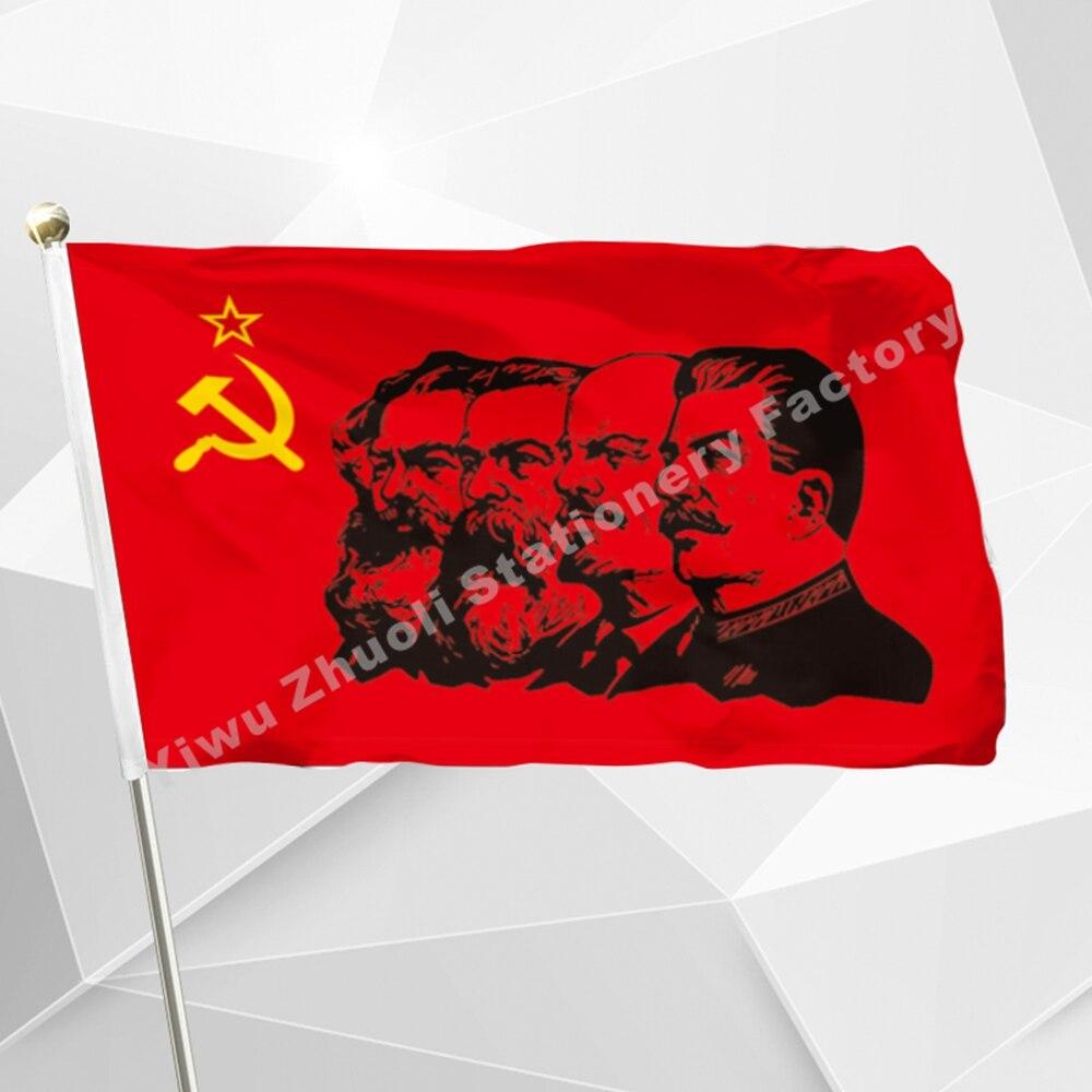 Communism Flag 90 X 150 Cm 3` X 5` FT 100D Polyester Marx Engels Lenin Stalin CCCP USSR Soviet Emblem Flags And Banners