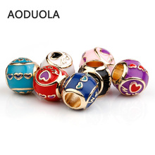 10Pcs a Lot Gold Color Enamel Heart MOM European Charms Beads Metal Big Hole for jewelry making Fit For Pandora