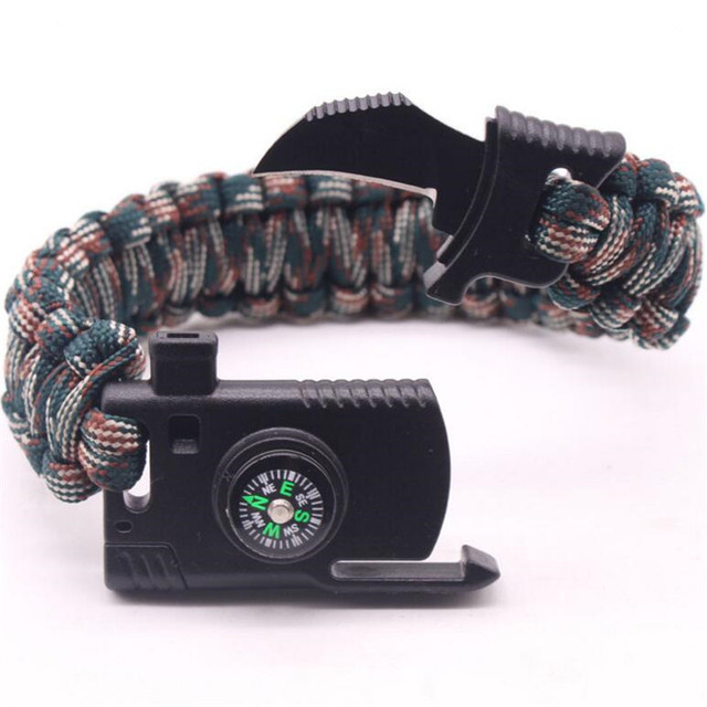 New Outdoor Camping Rescue Paracord Bracelet Men Survival Parachute Cord Multifunctional Braided Rope Bracelet Knife Compass