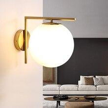 220v 110v  Modern Nordic Led Gold Glass Bedside Well Light Lamp Sconce For Indoor Bathroom Home Bedroom Loft Living Room Stair