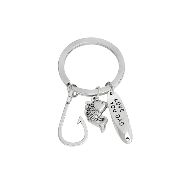 Fish Hooks Keychain Metal Silver color Love you dad Key chain Keyring for father