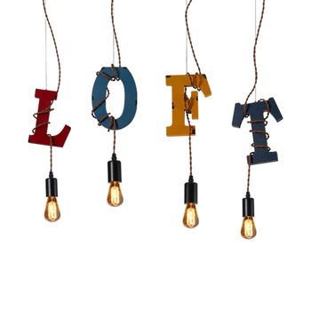 1PC Vintage industrial wind Pendant Lights creative personality bar diffuse Cafe store window  Wooden Letters LU728306