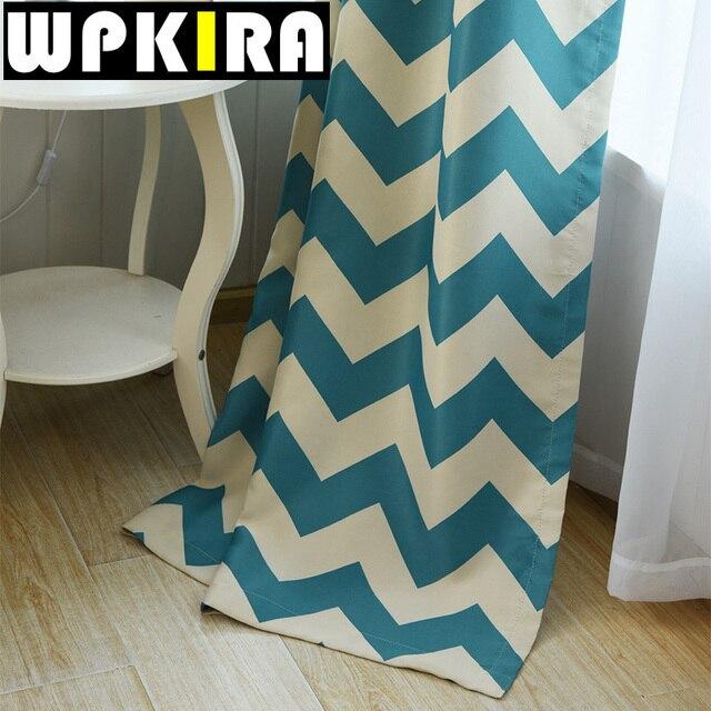 online-shop pastoralen blau horizontal gestreiften vorhang ... - Vorhange Wohnzimmer Blau