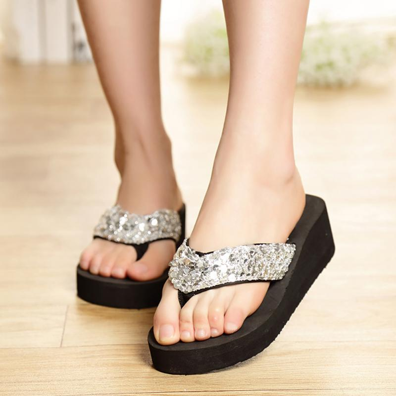 Summer Women Casual Shoes Non-Slip Bling Sequins Beach Slippers Flip Flops Platform Wedges sandals