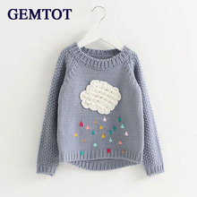 GEMTOT 2017 Spring Autumn Children 's Clothing Clouds Sweater Jackets Girls Tops Neck Long Sleeve Sweaters Raindrops Sweaters