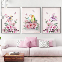 3 Pieces Diy 5D Diamond Embroidery Birdds and Flowers Pattern Full Round Drill Diamond Painting Mosaic Kit Home Decoration Gift