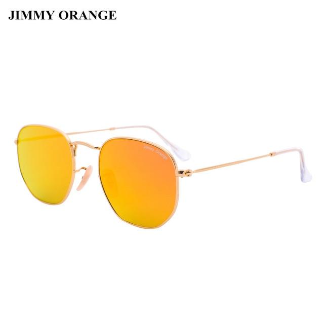 b0e84cdd1b JIMMY NARANJA de Cristal Lentes de Aviador gafas de Sol Redondas Mujeres  Hombres UV400 Diseñador de