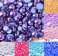 500 шт. смешанные темно-фиолетовые полукруглые жемчужные бусины AB 2-10 мм, рукоделие, кабошон, фотобусины с плоской задней стороной, бусины для ...