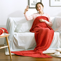 MDCT Full Cotton Crochet Mermaid Blanket Fish Tail Sleeping Wrap Bag Knitted Bed Sofa Throw Blanket Christmas New Year Best GIFT