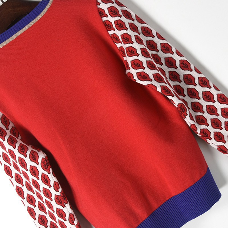2019 Women New Vintage Red Leaf Jacquard Warm Sweaters Long Sleeve O Neck Lurex Pullovers Autumn Knitted Retro Tops Blusas in Pullovers from Women 39 s Clothing