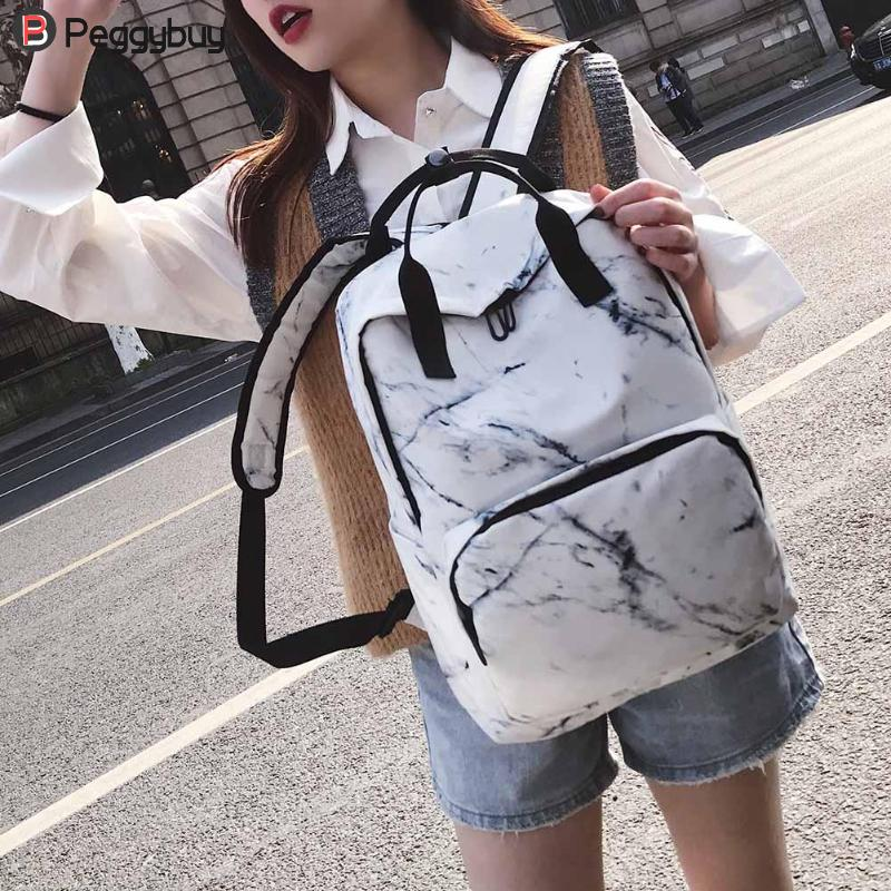 Women Nylon Backpack For Teenagers Bags Marbling Backpack Female Computer Rucksack Schoolbag Casual Female Shoulder Travel Bookb