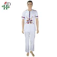 H&D african men clothes set dashiki embroidery shirt pants suit for white short sleeve t-shirt 2019 clothing