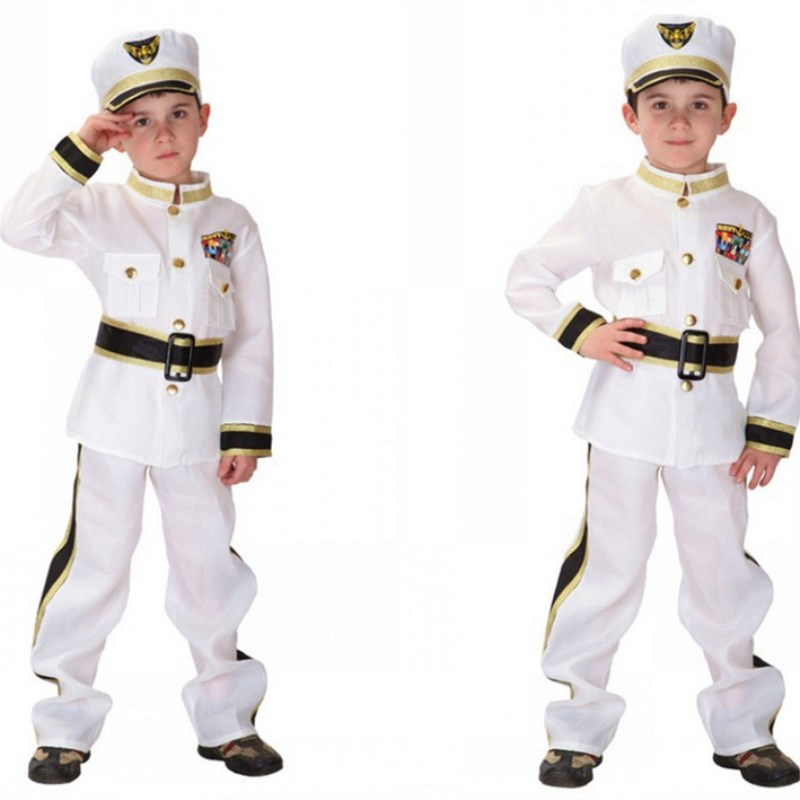 Free Shipping Kids Navy Costumes for Boys Christmas Carnival Halloween Fancy Dress Costume Children Police Pilot Cosplay Clothes