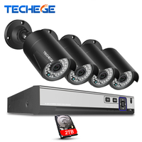 Techege H 265 Security Camera System 4CH 4MP PoE NVR Kit 4PCS 4 0MP Outdoor Waterproof