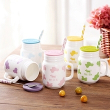 Keramik-tasse mit kuhmilch nette paar löffel abdeckung tasse kaffeetasse cartoon kind