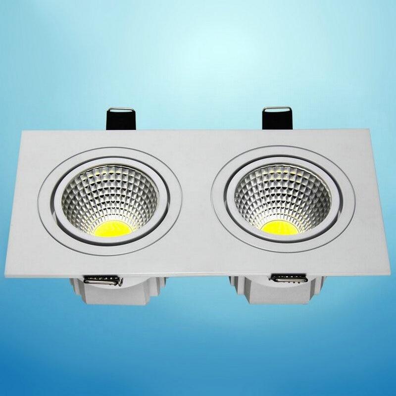 2x7W COB stmívatelné LED panely Downlight čtvercové skleněné panely světla vysoký jas stropní zapuštěné lampy pro domácí 10PCS