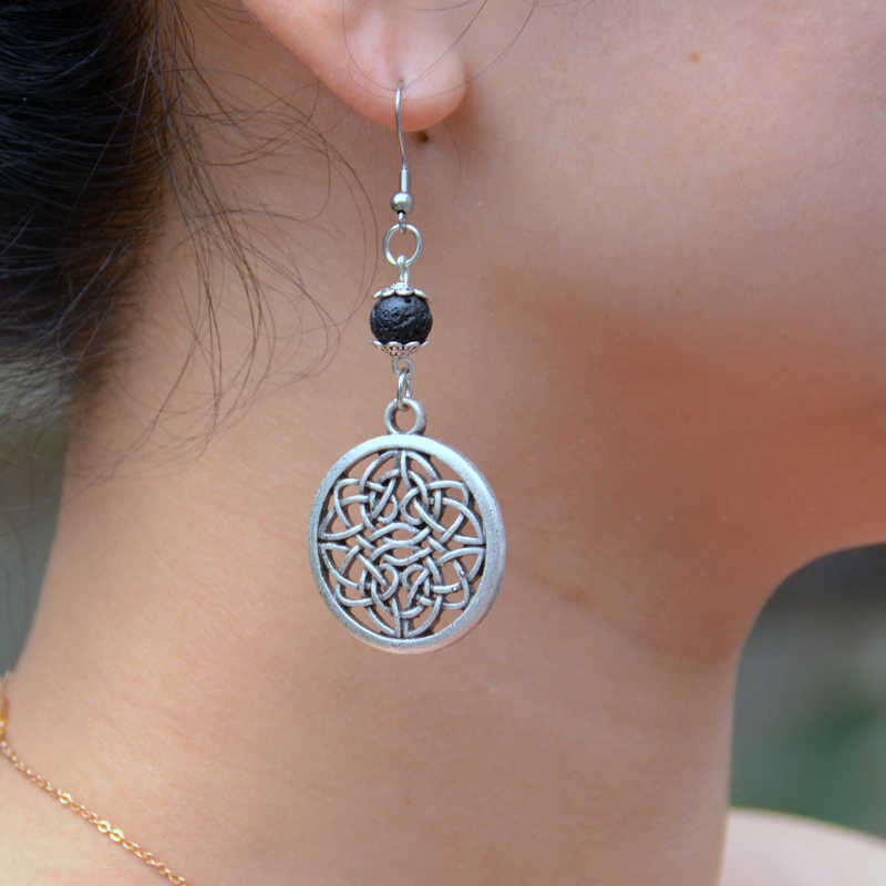 1 Cặp Handmade Celtics Knot Lava Bông Tai Lrish Eternity Infinity Knot Dangle Earrings Essential Oil Diffuser Bông Tai