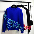2016 de La Flor de Ganchillo Bordado de Punto Suéter de Las Mujeres Y Suéter Mujeres Suéteres Suéteres O Cuello Otoño Femme Tirón Azul