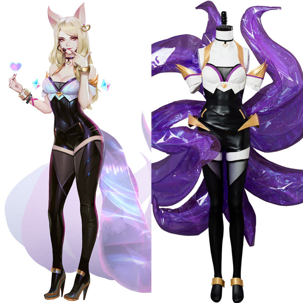 LOL the Nine-Tailed Fox Ahri K/DA Skin Outfit Cosplay Costume Halloween Carnival Cosplay Costumes