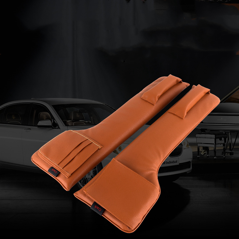 Updated Car Seat Gap Filler Pockets PU Leather Auto Seats Leak Stop Pad Soft Padding Phone Cards Holder Storage Bags Organizers
