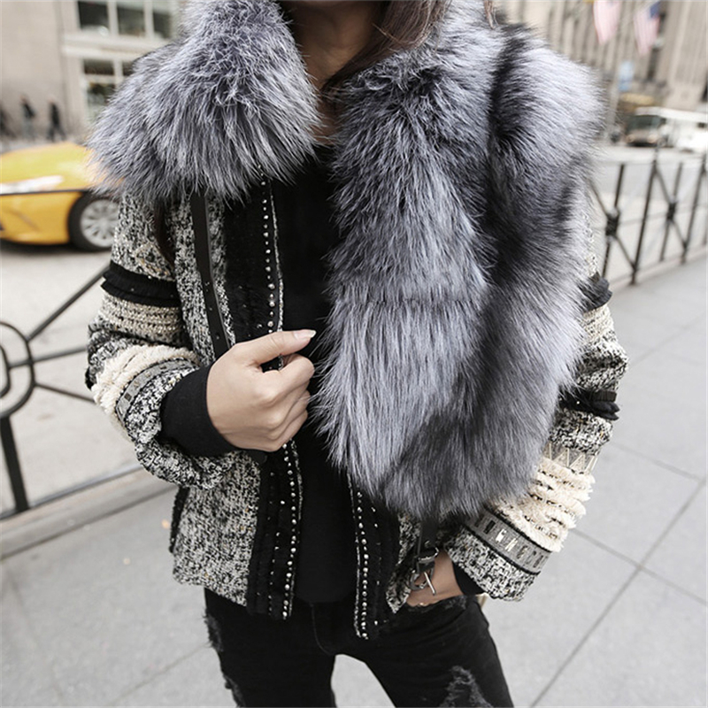 Warm Winter Scarves Vintage Women's Woven Real Natural Sliver Fox Fur Scarf Shawl Collar Wrap With Leather Band