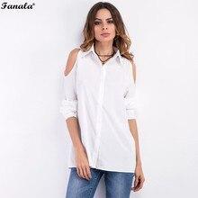 FANALA Women Shirt Blusa 2017 Summer Off Shoulder Solid Women Long Blouses Shirt Long Sleeve Button Female Blusas Shirt #50-30