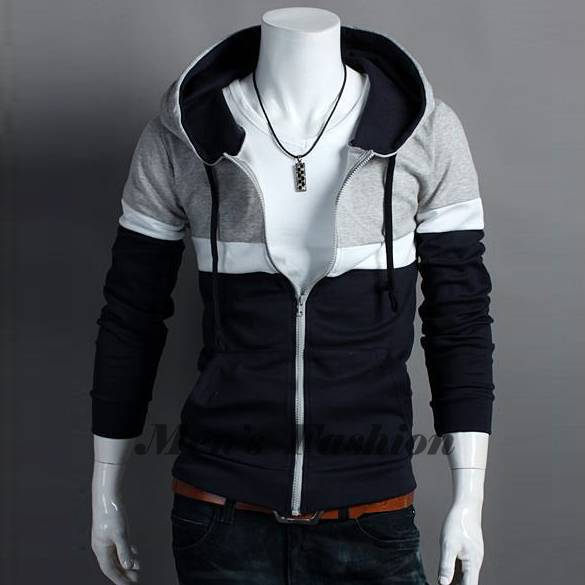 Online Shop 2014 New Fashion Men's Polo Hoodie Zippered Stylish ...