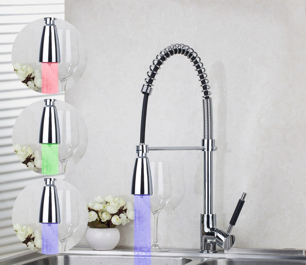 8538A 2 540mm LED Colors Changing Chrome Kitchen Pull Out Down Swivel Vessel Sink Mixer Tap