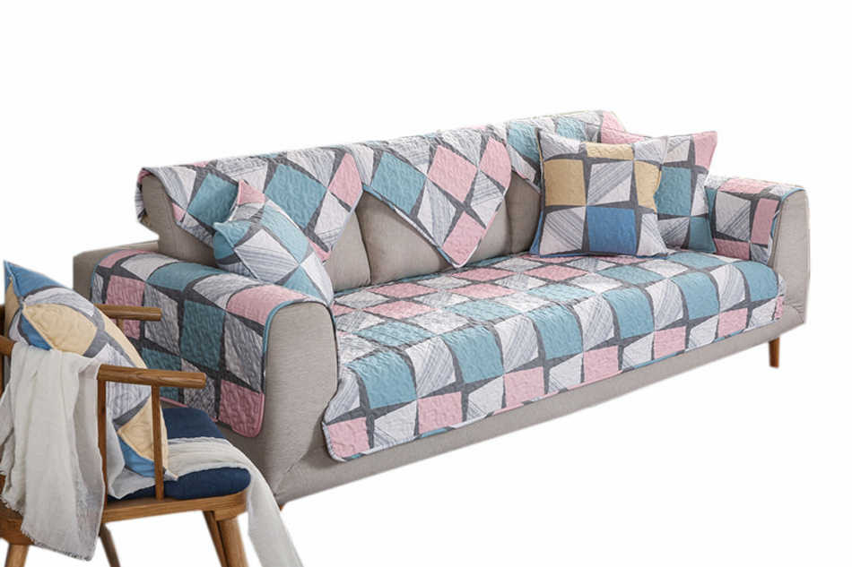 Stupendous 1Pc Plaid Sofa Cover 100 Cotton Pink And Blue Couch Pdpeps Interior Chair Design Pdpepsorg