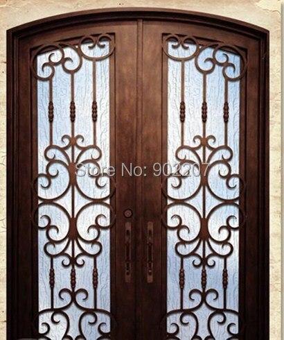 Hierro forjado puertas de entrada de la puerta de vidrio for Puertas de entrada de hierro forjado