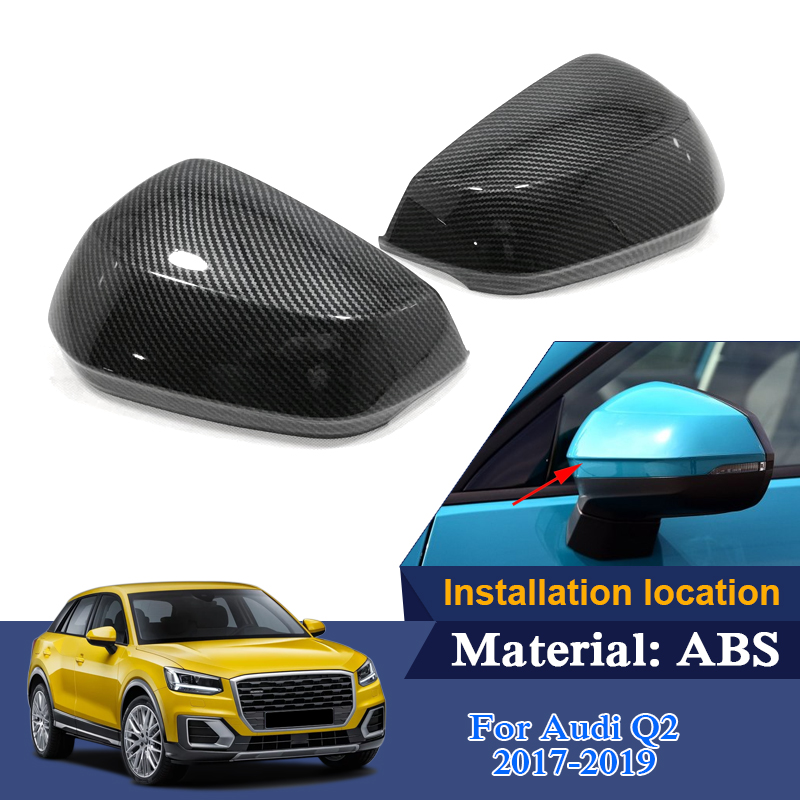 2pcs Car Styling Sequin Covers For Audi Q2 2017 2019 Car Rearview Mirror Cover Frame Decoration