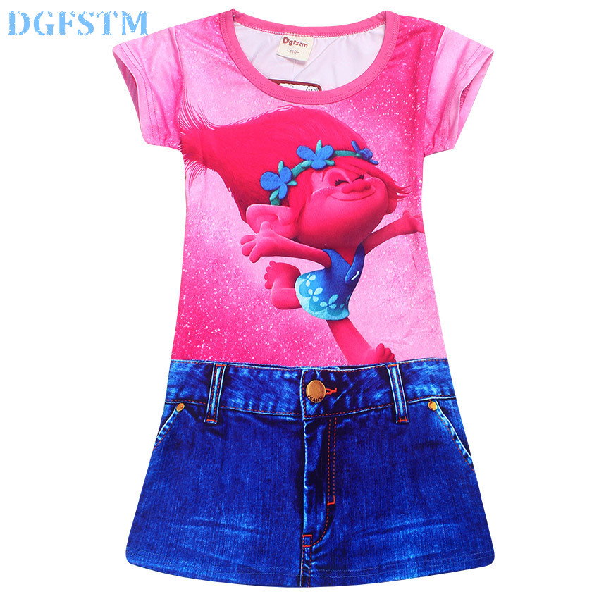 Moana Girl Dress Magic Trolls Poppy Clothes Summer Full printing Vaiana Dress Girls Costumes Elas Anna Children Clothing 4-10Y jienuo ip camera 960p outdoor surveillance infrared cctv security system webcam waterproof video cam home p2p onvif 1280 960