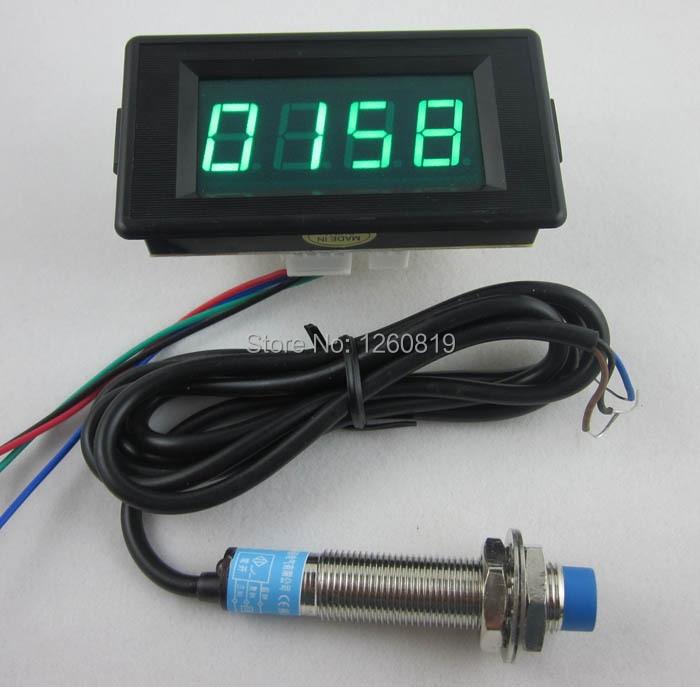 DC 12V 24V 4 Digital Blue LED Counter Meter Up Down+Hall Proximity Switch Sensor