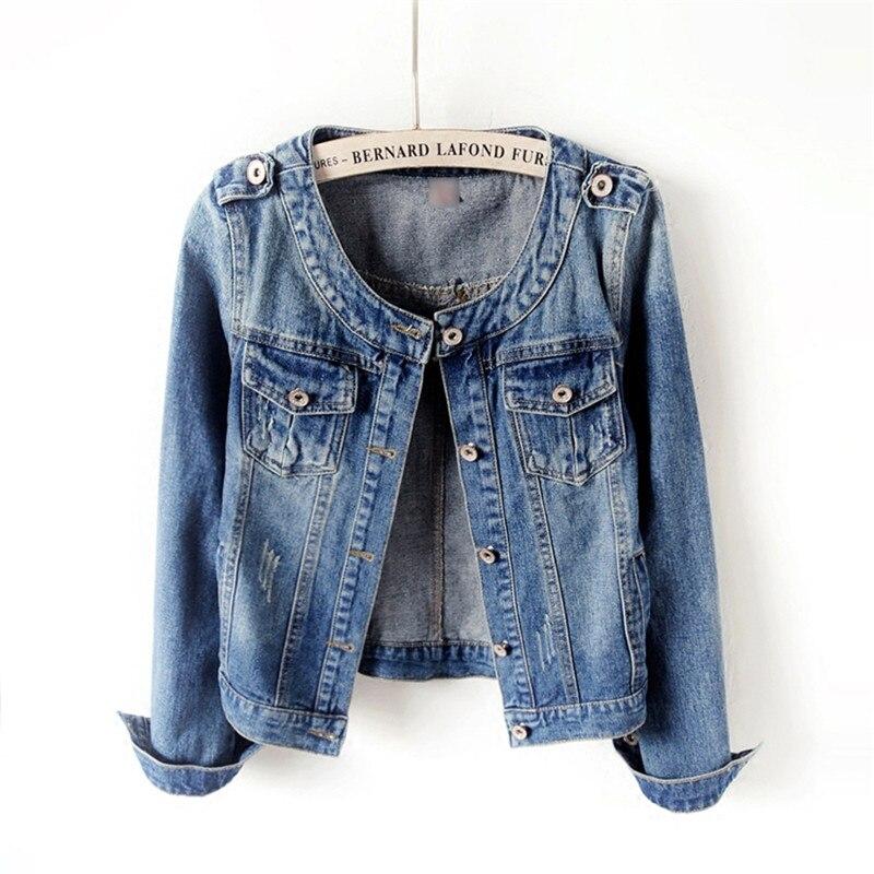 2019 Autumn Women O-Neck Denim   Jacket   Hot Boyfriend Jean Coat Vintage Streetwear   Basic   Outerwear Short Top Plus Size 6XL SE432