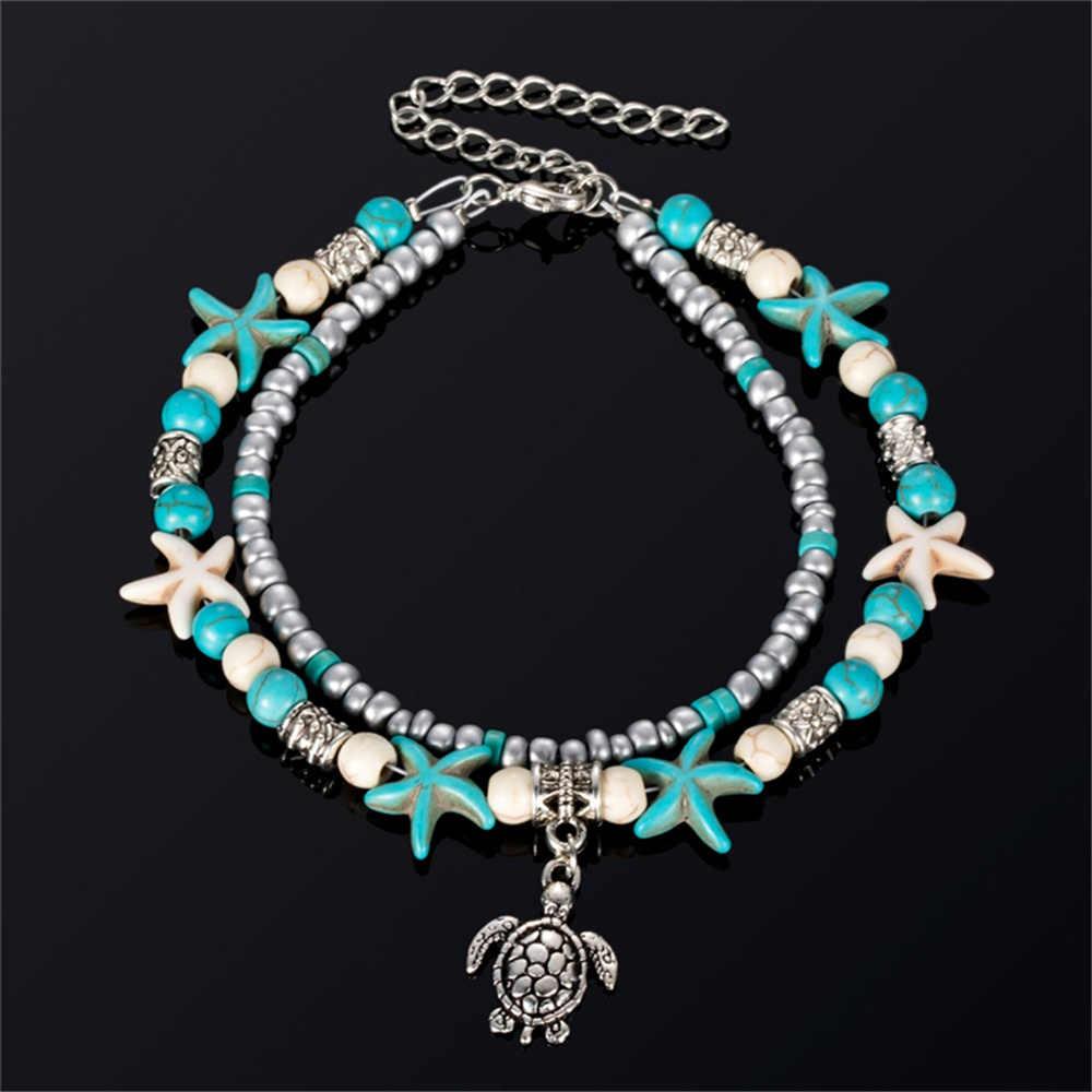 Богемное многослойное колье Морская звезда, черепаха ножные браслеты из бисера для женская одежда в винтажном стиле в виде ракушки цепи ножной браслет пляжные украшения сандалии подарок