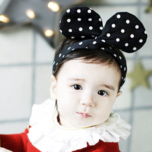 Cute girls Micky ears headbands fahsion black & beige dot print decorative hair accessories 6 pcs/lot