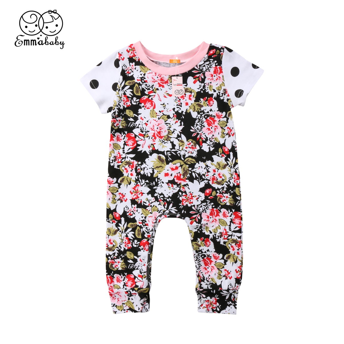 Summer new lovely Newborn Toddler Baby Girl Floral printed short sleeve Romper Jumpsuit One Piece Polka dot casual kid Outfit