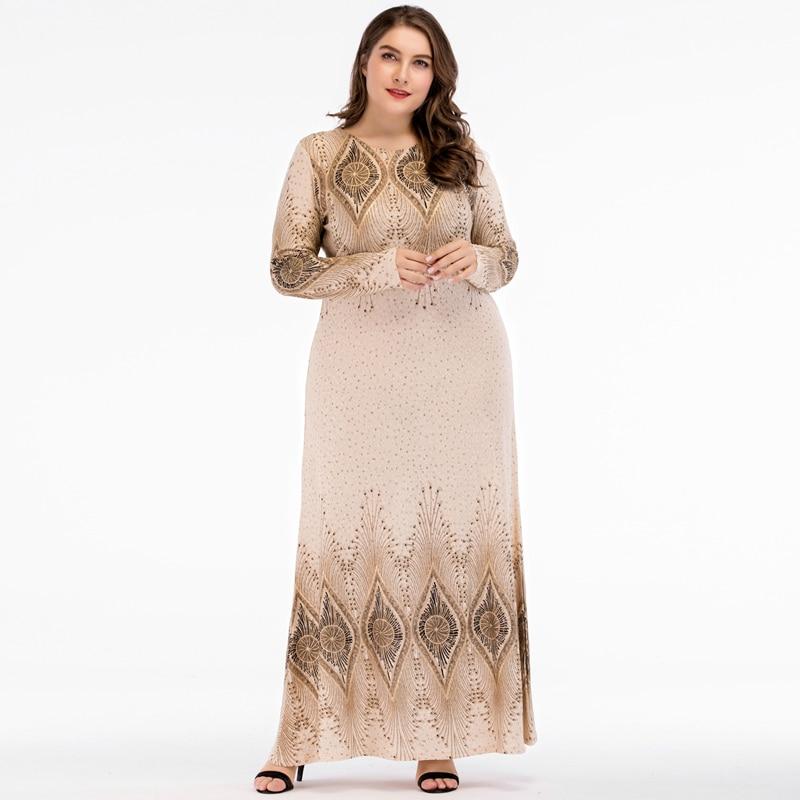 Islamic Women Vintage Abaya Muslim Dress Long Sleeve Printed Turkey Elegant Ladies Robe Maxi Long Party Dresses plus size 4XL