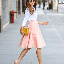 Летние Стильные женские тонкие плиссированные юбки с высокой талией, повседневные летние женские юбки до колена размера плюс S-2XL