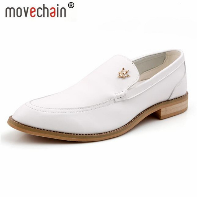 919258b67d1 movechain Men s Fashion Leather Loafers Mens Lace-Up Casual Moccasins  Oxfords White Wedding Shoes Man Party Driving Flats