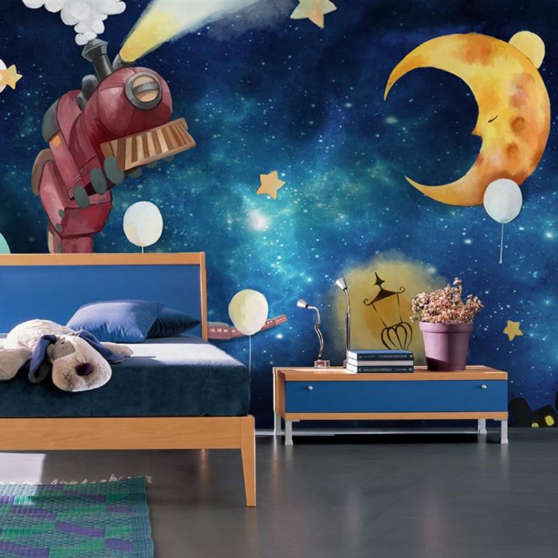 Blue Planet Star Night View Wallpaper Children's Room Boys Bedroom Backdrop Wall Covering Custom Cartoon Train Mural Wallpaper