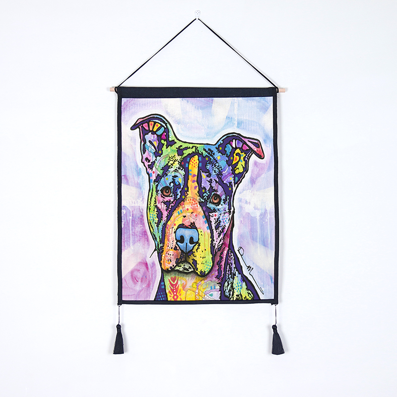 Oil Painting Dog Hanging Wall Art Poster Modern Solid Wood Cotton String Hanging Shaft Scroll Painting image