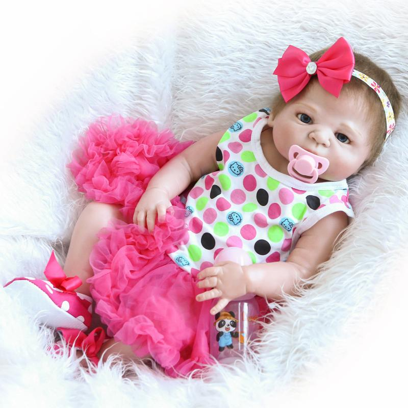 Full Silicone Vinyl Reborn Baby Doll 22 Inch Realistic Girl Babies Dolls 55cm Lifelike Princess Kids Toy Children Birthday Gift can sit and lie 22 inch reborn baby doll realistic lifelike silicone newborn babies with pink dress kids birthday christmas gift