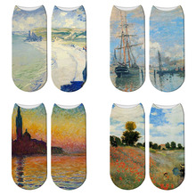 New 3D Retro Painting Art Claude Monet Socks Women Funny Poppy Field Short