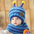 Bebê chapéu de inverno com Joint lenço com estilo abelha Crochet malha tampas para meninos infantis meninas crianças de moda de nova crianças Neck Warmer