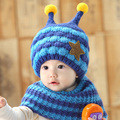 Winter Baby Hat With Scarf Joint With Bee Style Crochet Knitted Caps for Infant Boys Girls Children New Fashion Kids Neck Warmer