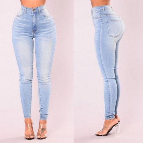 Women Lady Denim Skinny Pants High Waist Stretch Jeans Slim Pencil Jeans Women Casual Jeans 3